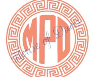 Vinyl Aztec Circle Monogram Decal