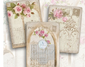 SALE - Digital Collage Sheet, ATC Cards, Vintage, Gates and Roses,  Instant Download, Printable Images, Craft Supplies