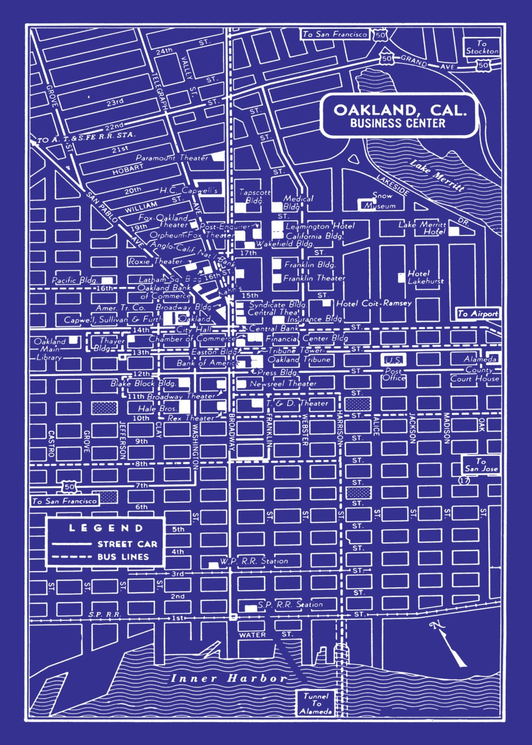 1949 vintage map of downtown oakland california blueprint map 1949 vintage map of downtown oakland california blueprint map print poster publicscrutiny Image collections