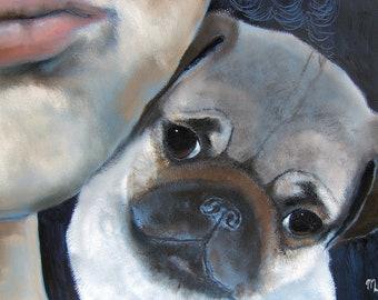 "Pug Art Print of an original oil painting / ""Cheek To Cheek"" / Dog Art / 8 x 10"