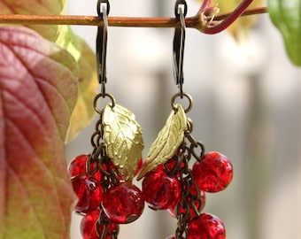 "Earrings ""Currants"" Red Quartz gemstone beads and brass."