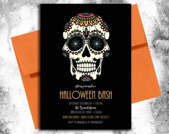 Sugar Skulls Halloween Invitation
