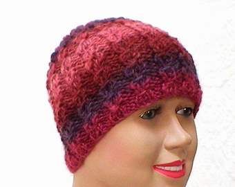 Lacy cable knit beanie hat, plum amethyst purple rose, striped hat, wool hat, womens knit hat, cable knit hat, cloche hat, toque, cable hat