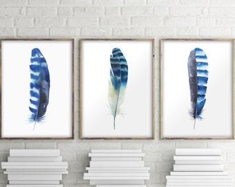 Feather art print, Set of 3 prints, Home decor, Bohemian decor, Watercolor feather, Wall art decor, Feather poster decor,  Room decor BD-993