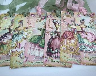 Marie Antoinette Bookmarks , French Theme Gift Tags , Eat Cake Bookmark, Paris Bookmarks, Elegant Roses, Elegant Bookmarks, Floral Bookmarks
