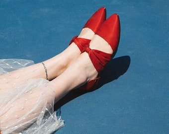 L'amant Collection red ballet flat shoes