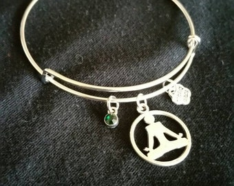 Lotus Pose Yoga Charm Bangle Bracelet with personalized chakra colored charm