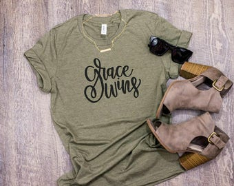 SALE SALE Grace Wins Christian T Shirt Woman Graphic Tee for Women