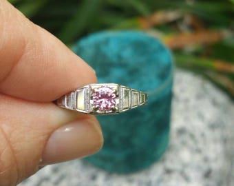 Pink Sapphire 18k white gold Art Deco Ring