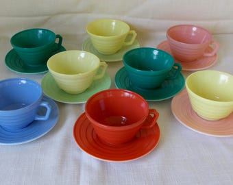 Fiesta Cups & Saucers, Vintage Hazel Atlas Moderntone