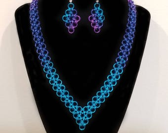 Turquoise, Cobalt and Purple Ombre Japanese Lace Chainmaille Necklace and Earring Set