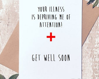 Get well soon card, funny get well card, funny greeting card, card for him, card for her, card for friend, card for work friend