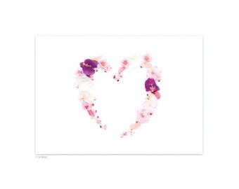 Heart flowers postcard