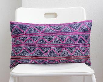 Blue Pink Vintage Pillow Textile Batik Hand Print Indigo Lumbar Hmong Pillow Cover