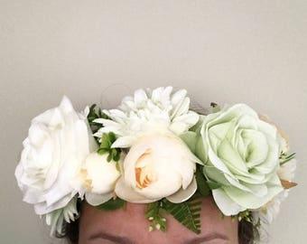 White, Peach and Green Headband   Flower Headband   Flower Crown   Floral Headband   Boho Headband