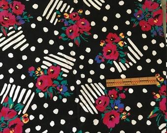 Cotton Fabric~Bold Black+White+Primary Floral Graphic design~3yX45~Cranston Prnt