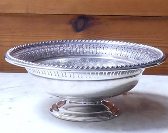 Vintage Mid Century English Silver Small Pedestal Dish with Pierced Metal Decoration