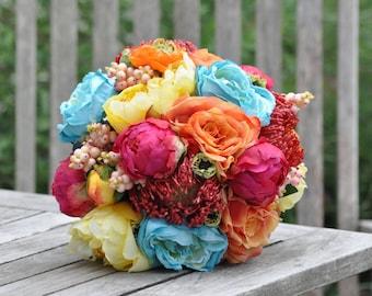 Silk Wedding Bouquet, Wedding Bouquet, Keepsake Bouquet, Bridal Bouquet Colorful wedding bouquet made of silk flowers.