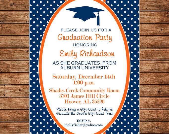 Boy or Girl Invitation Graduation College High School Ceremony Party - Can personalize colors /wording - Printable File or Printed Cards