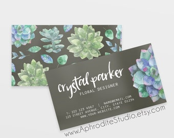 Business cards - Watercolor business cards Printable business cards Pre-made business cards Succulents business cards Business card template