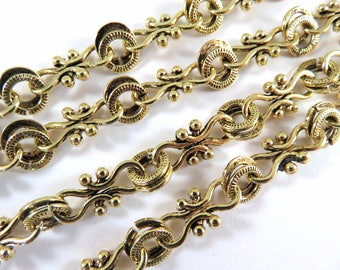 38in Handmade Chain Antique Gold Chain Designer Chain Cross Links and Rings Textured Chain Not Soldered - 3 ft 2 in - STR9037CH-AG38
