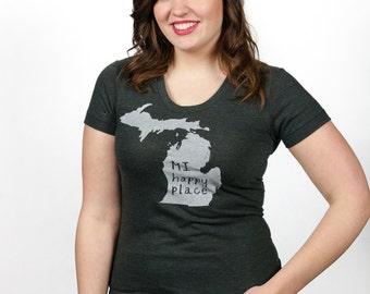 michigan tshirt, mi happy place shirt, women's fashion, neutral, silkscreened tshirt, graphic tshirt, witty tshirt, detroit, free ship