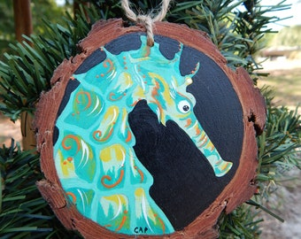 Green Seahorse Hand painted wood slice ornament