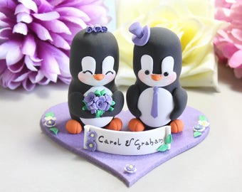 Unique wedding cake topper Penguins + felt base/stand - bride groom cake toppers wedding black white purple elegant cute personalized