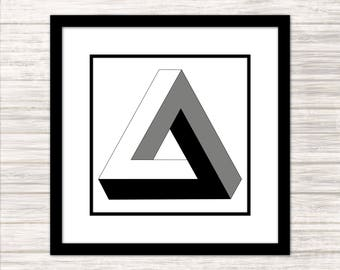 Penrose Triangle - Impossible Geometries - Wall Art, Print, Poster, Printable PDF+JPG