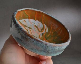 Shaving Bowl Ready To Ship Chawan Turquoise Oil Spot Shaving Bowl by Symmetrical Pottery