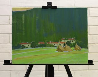 Green Painting landscape Oil on canvas painting Small mountains painting House village painting impressionism art original fine art gift