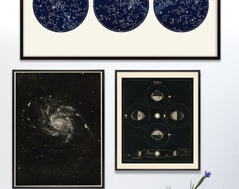 Art Wall Set 3 print Package, Gallery Wall, Constellation Art set, Space Art, Antique Astronomy Gallery Wall