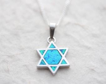 Sterling silver Star of David, Silver  Opal Shield of David necklace, choose chain, Star of David Jewelry, Opal Star of David Charm