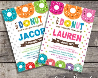 You Donut Want to Miss this Sweet Party Themed - Boy's or Girl's Birthday Party Invitation - Digital or Printed