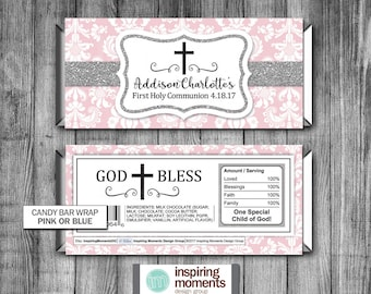 Communion Damask Candy Bar Wrapper | First Holy Communion | Baptism | Religious | Printable | Personalized | Hershey Bar Wrapper | Favor