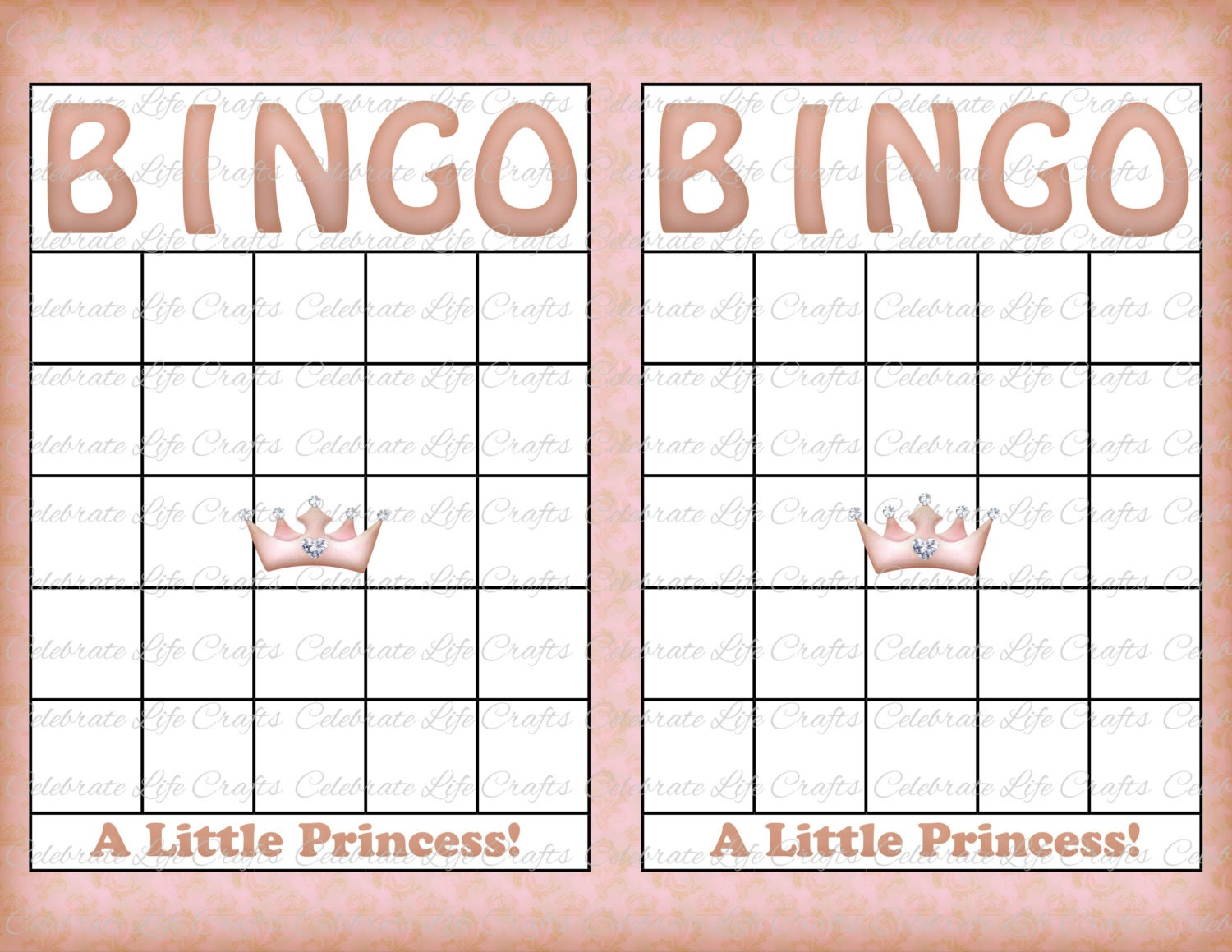 Blank baby shower bingo cards vintage princess printable zoom solutioingenieria Gallery