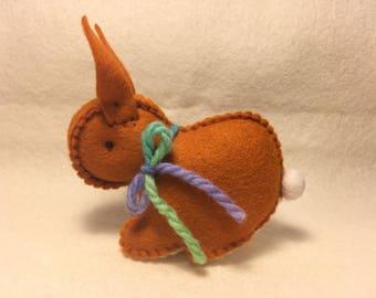 Orange brown Easter bunny rabbit Australian made - wool felt Waldorf inspired