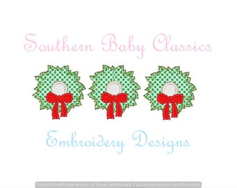 Christmas Wreath Row with Bow Blanket Stitch Applique Trees Three Trio Pine Design File for Embroidery Machine Instant Download