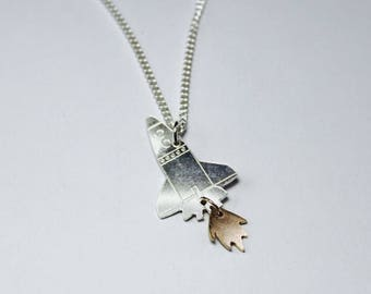Ready to launch - sterling silver space shuttle necklace