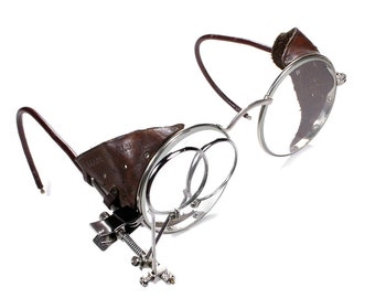 Steampunk Goggles Vintage WILLSON Goggles Aviator Glasses Brown PERFORATED Leather Side Shield LOUPES Burning Man - Steampunk by edmdesigns
