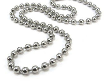 Stainless Steel Ball Chain, Large 4.5mm Stainless Steel Chain, Durable Stainless Steel Ball Chain in Custom Lengths, Item 1586ch