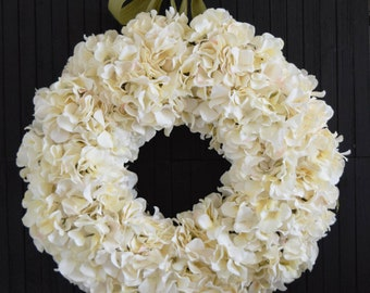 Pale Cream Hydrangea Wreath for Front Door or Wedding Decor