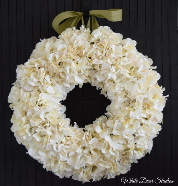Cream Hydrangea Wreath for Front Door or Wedding Decor