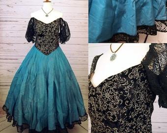 Victorian Gown Dress Costume Adult Women Cavalier Renaissance Hoop Skirt Black Teal Green Blue Queen Victoria Lady Civil War 1800s Spanish L