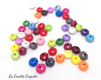 50 beads rondelle faceted acrylic plastic - multicolored - 8 x 5 mm