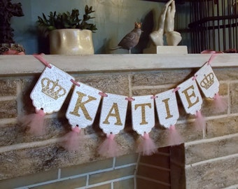 Girls Name Banner with Crowns, Embossed Cream Pink and Gold Banner with Tulle, Princess Birthday Decoration Royal Baby Shower Nursery Banner