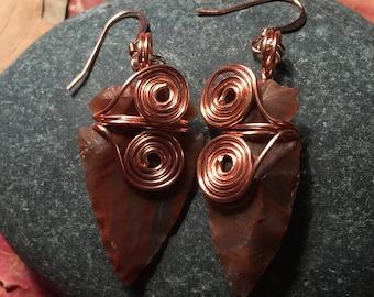 Agate Arrowhead Wire-Wrapped Earrings