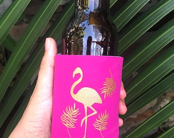 Flamingo Bachelorette Party | Beach Bachelorette | Pool Party | Beach Party | Flamingo Favor, Can Cooler, Drink Holder, Pink + Gold Party