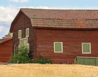 Old Barn Photography, Rustic Decor, Red Barn Print, Farmhouse Decor, Country Wall Art, Red Yellow Green Home Decor