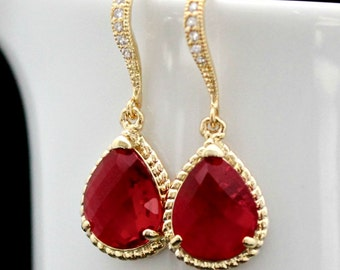 Brilliant Red Faceted Teardrop Crystals Set in Gold with Crystal Detailed French Earrings